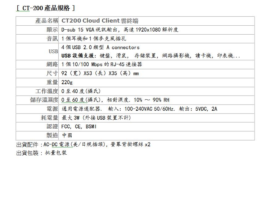 CT200 Spec